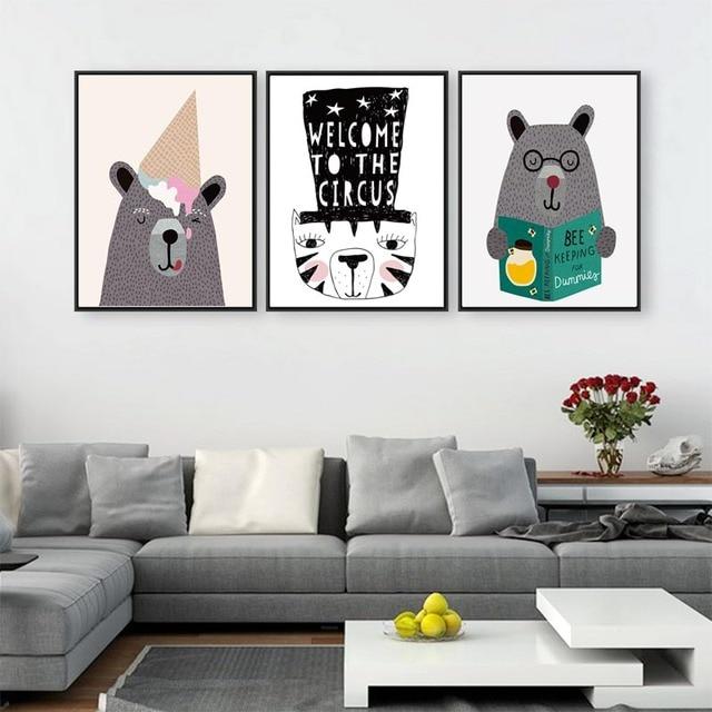 Modern Creative Kawaii Animals Bear Canvas Poster Print Cartoon Nursery  Wall Art Picture Kids Baby Room