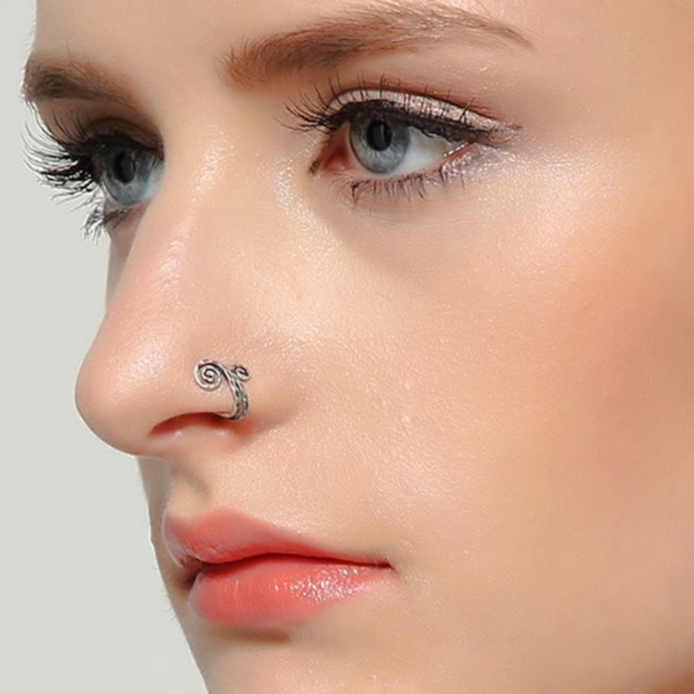 New !!! Women Single Nose Rings Ear Cuff Antique Silver Nose ...
