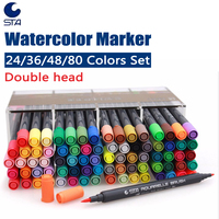 STA Brush Pen Watercolor Art Markers Set Double Head Soft Fine Tip Water Soluble Color Sketch