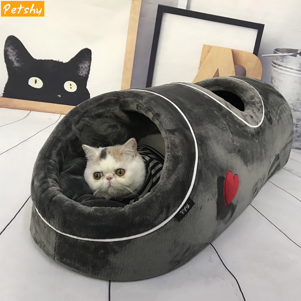 Petshy Cat Beds House Funny Pet Cats Tunnel 2 Holes Play Tubes Soft Warm Small Dog Bed Coral Fleece Comfortable Puppy Nest
