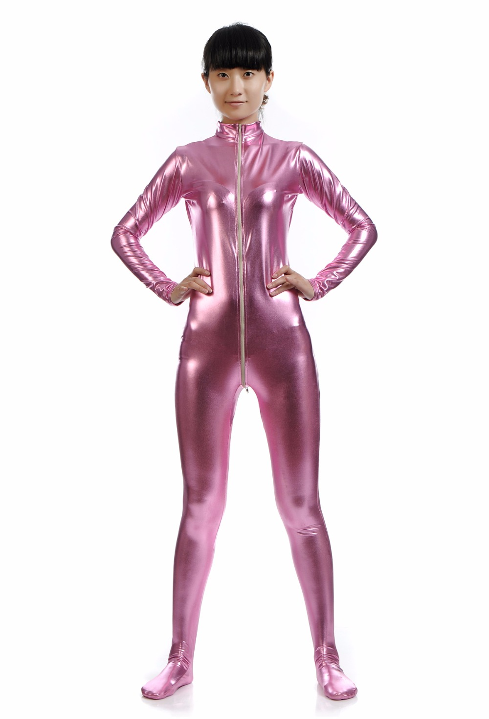Women Plus Size Pink Zentai Suit Kids One Piece Lycra Mock Neck Unitard Dancewear Full Zentai Bodysuits Shiny Metallic Catsuits
