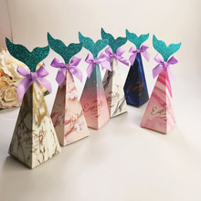feiluan 100pcs new beautiful color 6x6x18.5cm Mermaid box European wedding creative candybaby birthday party