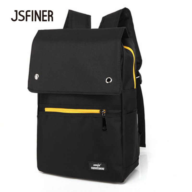 JSFINER Solid Color School Bags For Teenagers Canvas Vintage Style Travel Knapsack Vertical Section Square Backpack retro style two front pockets laptop compartment vintage canvas solid color backpack