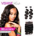 Vishine 360 frontal del cordón con 2/3 paquetes de la onda del cuerpo del pelo Peruano onda del cuerpo del pelo virginal peruano de la onda del cuerpo del pelo puede ser teñido
