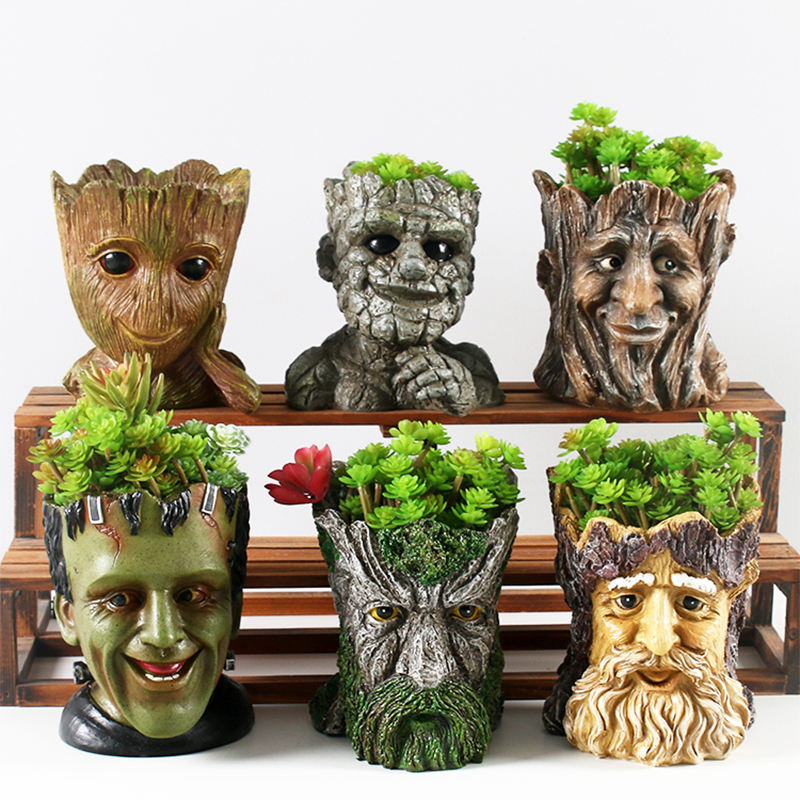 Image 3 - GLLead Groot Resin Flower Pot Cute Planter Action Figures Tree Man Creative Model Toy Pen Pot Garden Flowerpot Home Decorate-in Flower Pots & Planters from Home & Garden
