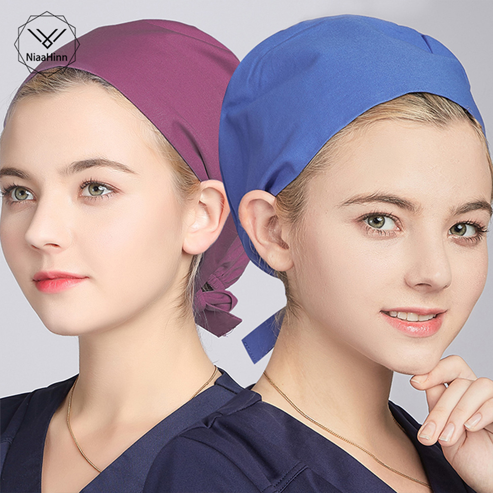 Doctor Cap Nurse Hat Medical Staff Nurses Solid Color Scrub Profession Hospital Detist Surgical Mask/ Cap Cotton Hats Men Women