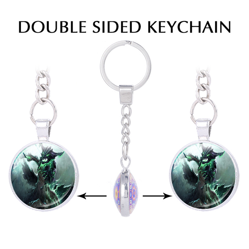 Dota 2 Inspired Double sided Pendant keychains Video Game Jewelry Gaming Jewelry Handmade Keychain for Keys Fathers Day Gifts