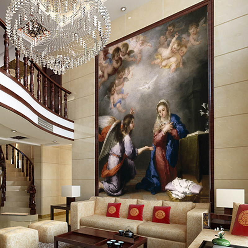 Custom photo wallpaper catholic christian european for Ceiling mural in smokers lounge