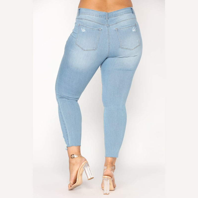 Blue Ripped Skinny Jeans For Women Hight Waist Hole Denim Basic Pencil Pants Trousers 2018 Casual Bleash Wash Jean Femme Mujer