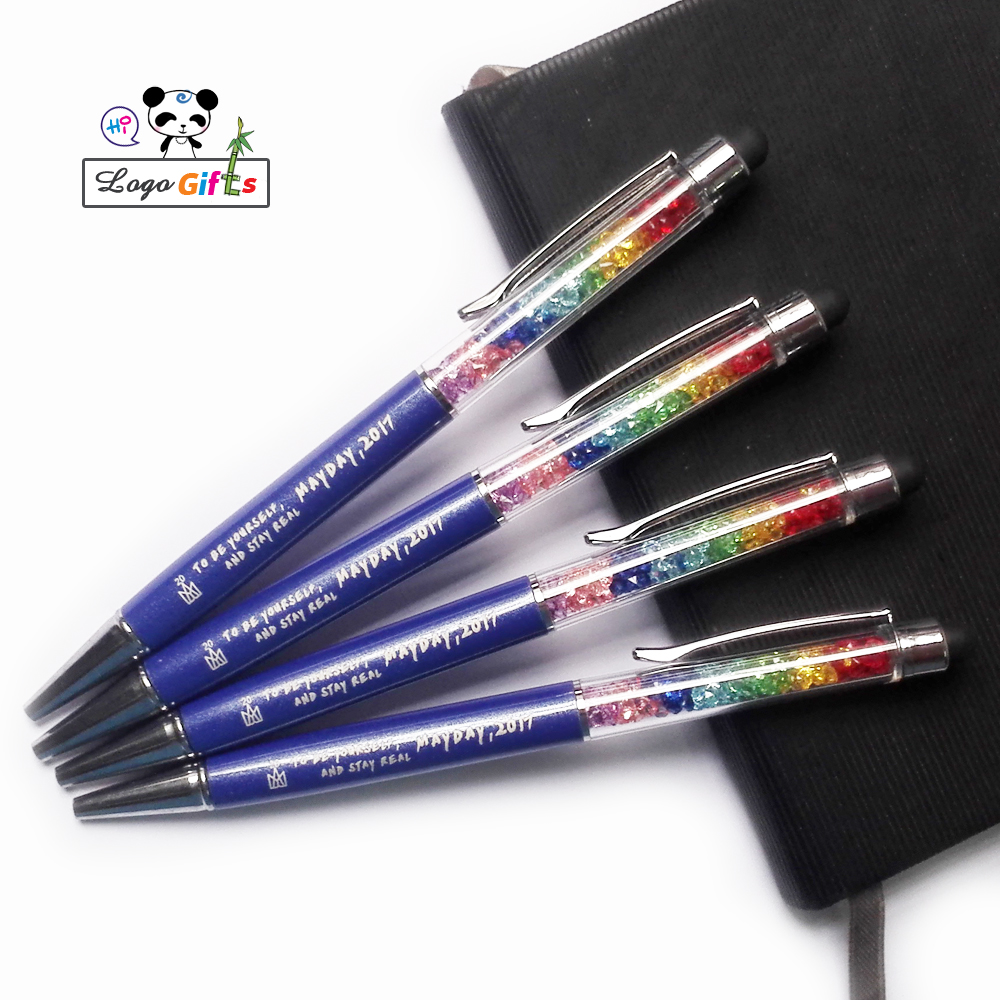 Colorful rainbow series crystal stylus pens custom imprinted with your logo text weburl email FREE by laser 100pcs a lot in Ballpoint Pens from Office School Supplies