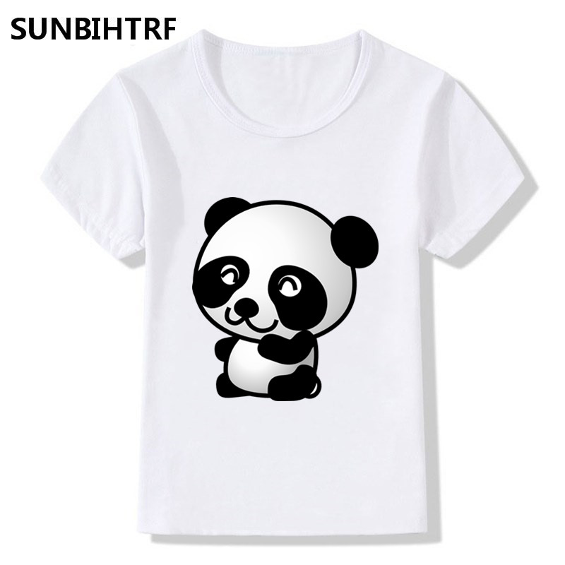 Beautiful Children Cartoon Lovely Giant Panda Print T Shirt Kids Summer Tops Big Girls Boys Short Sleeve T Shirts Casual Cute Baby Clothes