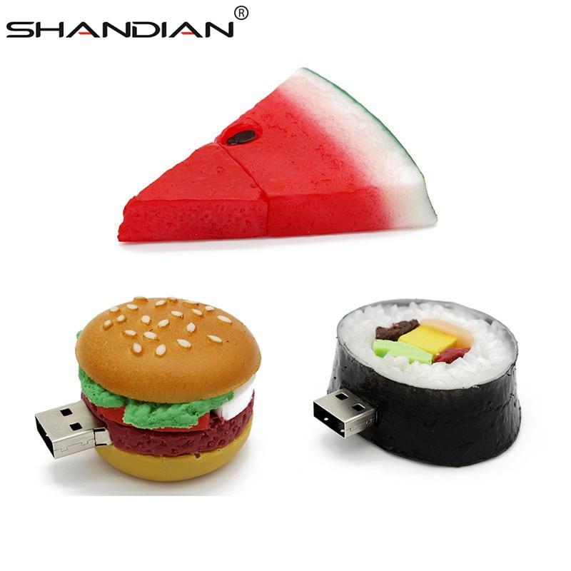 SHANDIAN Food Usb Flash Drive Creative Hamburger Sushi Watermelon Pendrive 4gb 16gb 32gb 32gb Memory Stick U Disk Gift Toy Drive