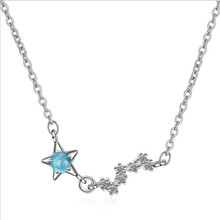 TJP New Fashion Cubic Zircon Star Dipper Female Pendants Necklace Jewelry Trendy Silver 925 Girl Choker Gift