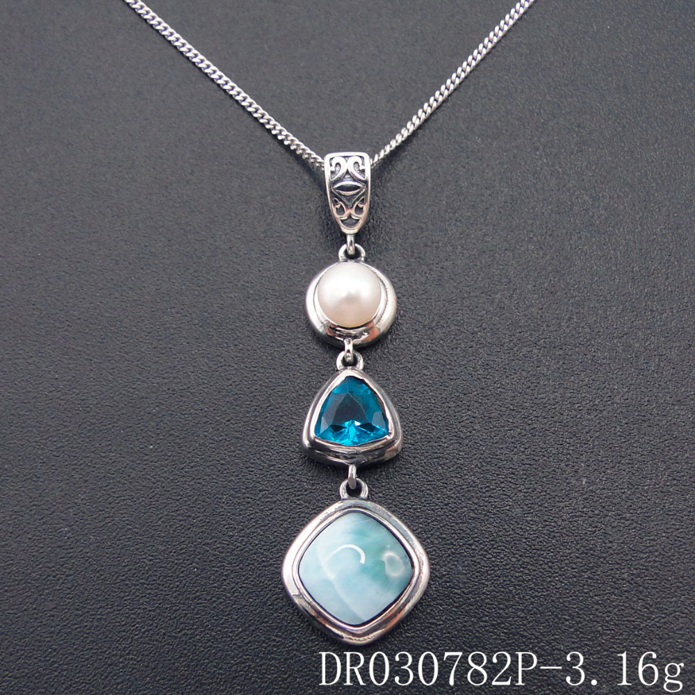 Solid 925 Sterling Silver Silver with Genuine AAA Larimar and Saltwater Tahitian Pearl Necklace Larimar and Tahitian Pearl Pendant