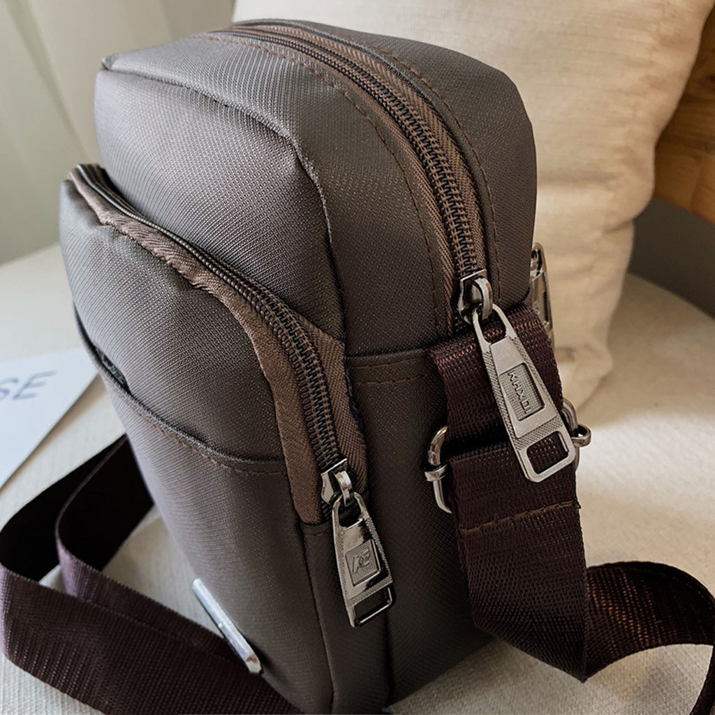 Men's Shoulder Bag Fashion Neutral Nylon Pure Color Zipper Shoulder Bag Messenger Bag Business Bag