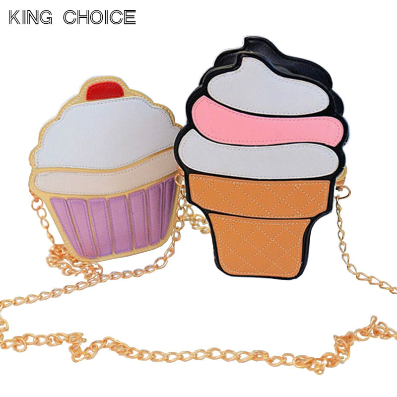 2017 Cute Ice Cream Cupcake Women Bag PU Leather Small Chain Clutch Girl Messenger Crossbody Shoulder Bags Female Purse Handbags