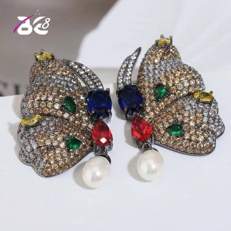 Clever Werden 8 Luxus Micro Pflastern Multicolor Cz Stein Stud Ohrringe Schöne Schmetterling Form Ohrring Für Frauen Weibliche Bijoux Brincos E827 üBereinstimmung In Farbe