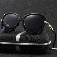 HDCRAFTER Polarized Cat Eye Sunglasses Women Brand Designer Imitation Pearl Flower Retro Driving Sun Glasses Shades
