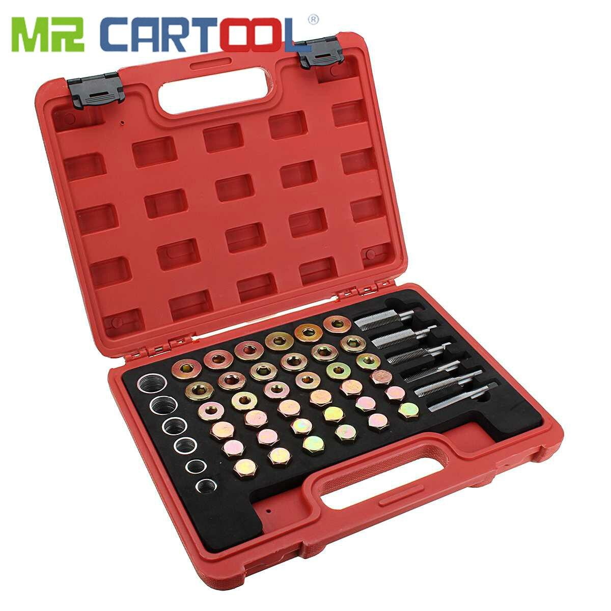 Mr Cartool 114 pièces Kit de réparation de filetage de carter d'huile de voiture bouchon de vidange de boîte de vitesses ensemble d'outils de joint de rondelle