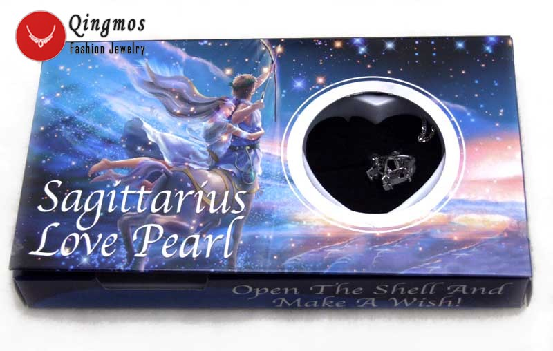 Qingmos Constellation Gift Sagittarius One Box Wish Pearl Pendant Chokers Necklace for Women & Oyster Love Pearl Necklace-w3640