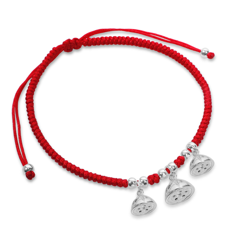Handmade Braided Red Cord String Silver Anklets Female Accessories Pure Silver Lotus Seed Elegant Anklets pair of rhinestoned hollowed leaf anklets