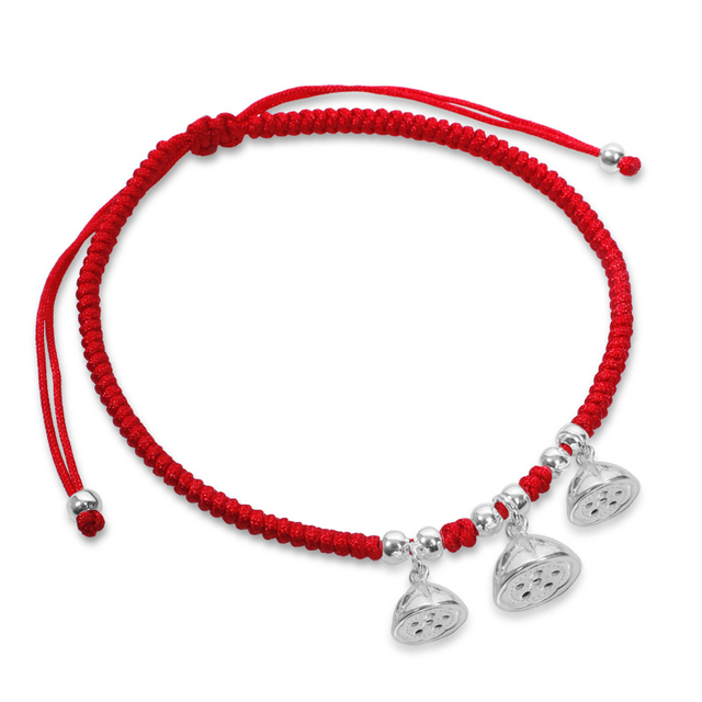 Trenzada hecha a mano de Cuerda Roja Cadena Tobilleras de Plata Femenina Accesorios de Semillas de Loto de Plata Pura Tobilleras Elegantes