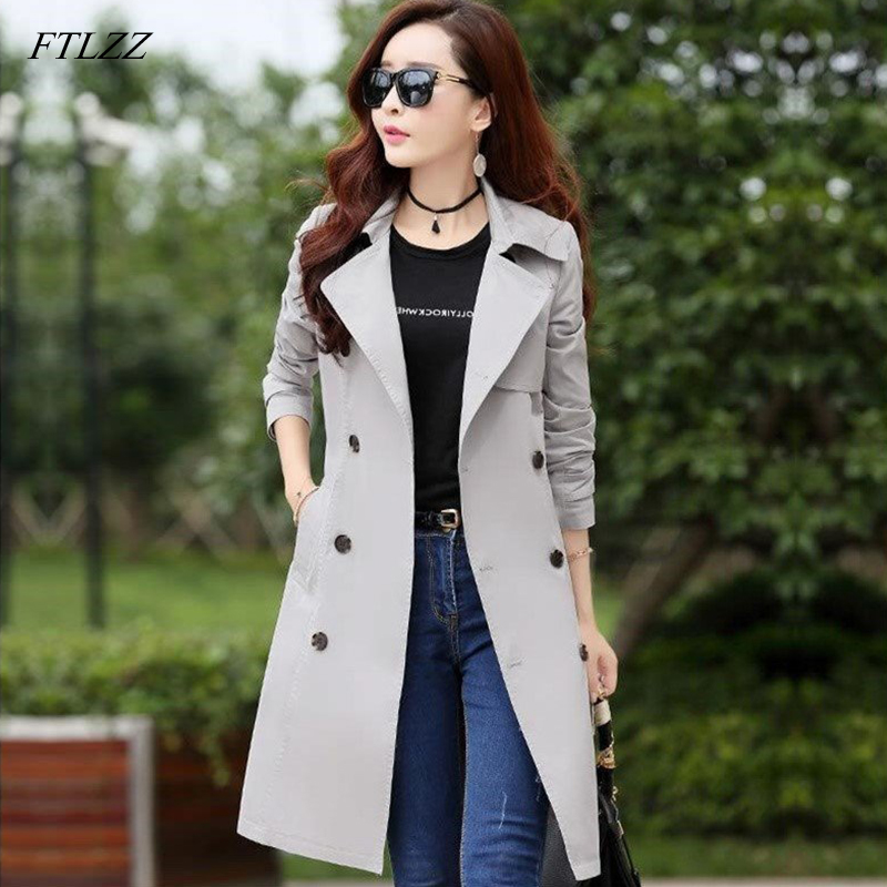 FTLZZ Plus Size 3XL   Trench   Long Coat Spring Autumn Women's Double Breasted Windbreaker Outerwear Female Casual   Trench   Coat