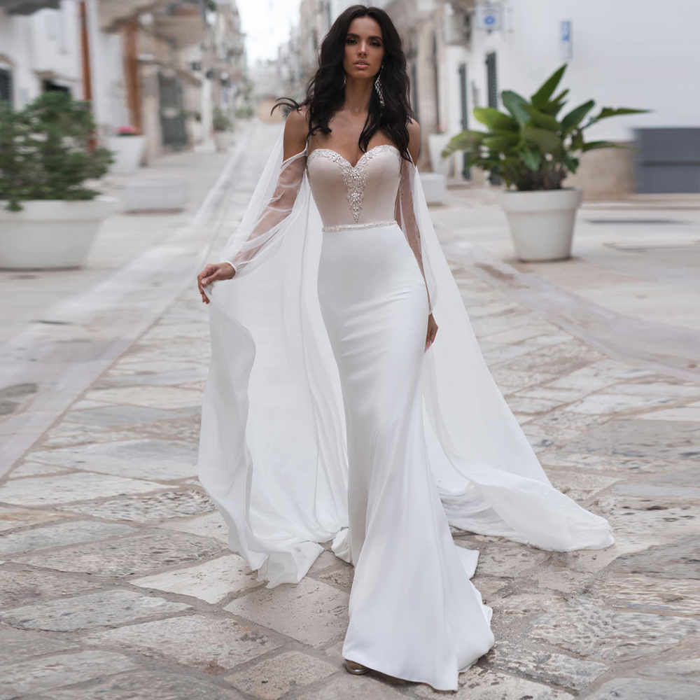2019 New Sweetheart Neckline Mermaid Wedding Dresses Vestidos De Novia Elegant Custom Made Bohemian Chiffon Bride Dress