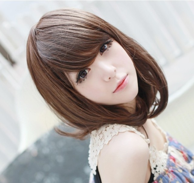 Girls women's wig oblique bangs pear medium-long straight hair kinkiness black brown non-mainstream