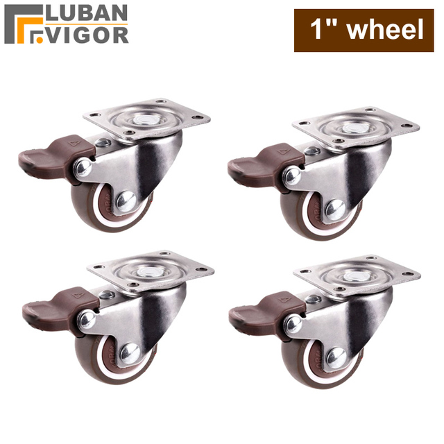 1 inch Lightweight Caster with brake,TPE rubber,Super mute wheels,bear 20kg/pcs,For bookcase drawer Flower racks,small cupboard