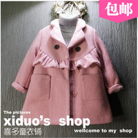 2016 New Spring Autumn Girls Kids Boys Edging Design Suit Collar Wool Coat Comfortable Cute Baby