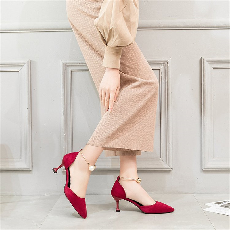 High heels Pearl pumps women shoes 2019 Autumn summer shoes women Fashion Wild Pointed Hollow sandals women Slip On Thin Heels in Women 39 s Pumps from Shoes