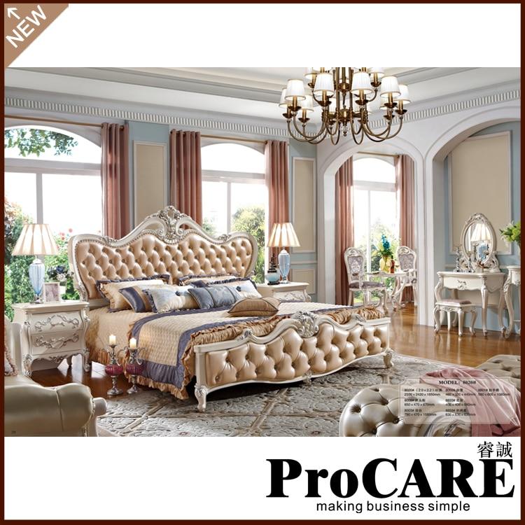 New Model Fancy Bedroom Set White Color King Size Bed Bedroom