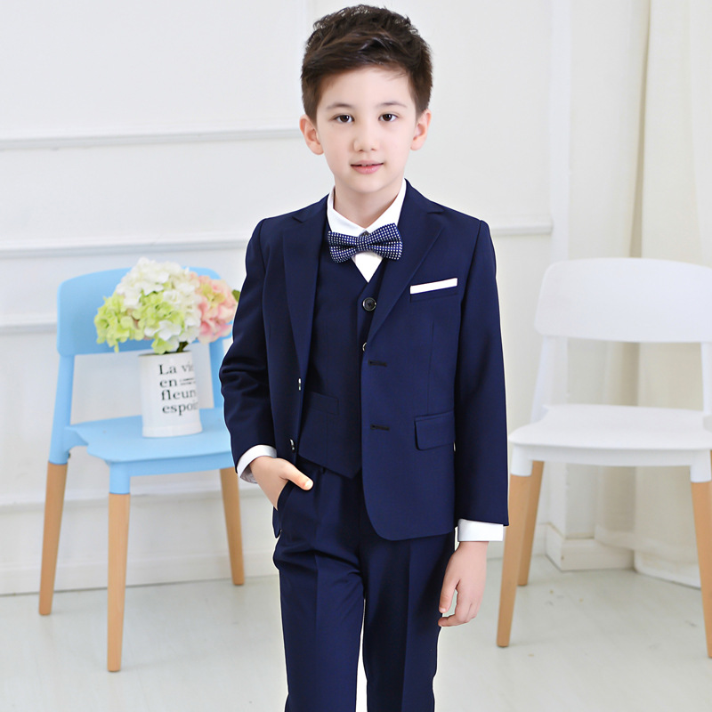 Blue Boys Kids Formal Blazers Suit for Wedding Jacket+Pants+Bow Tie+Blouse 4 pieces Clothes Big Boy Blazer Children Suit EB081 2016 new arrival fashion baby boys kids blazers boy suit for weddings prom formal wine red white dress wedding boy suits