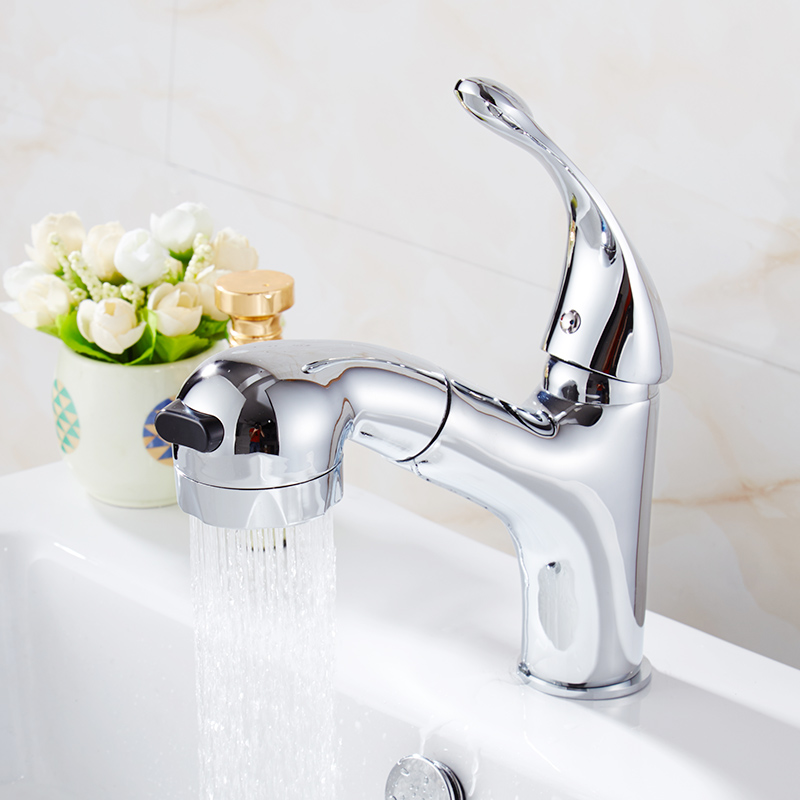 Fapully Brass Basin Faucets 2 Functions Single Hole Dual Function Hot and Cold Pull Out Bathroom Sink Faucet Mixer Taps 523 11C in Basin Faucets from Home Improvement