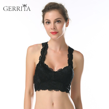 GERRITA New Arrival Push Up Womens Bra Hollow Out Stylish Sleeveless Lace Sell Bralette Crochet Solid Crop Tank Flower Vest