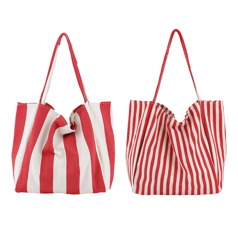 cc7fc5b2392a Detail Feedback Questions about Canvas Tote Bag Fabric Cotton Cloth  Reusable Shopping Bag blue Women Beach Handbags red stripe Printed Grocery  Bag on ...
