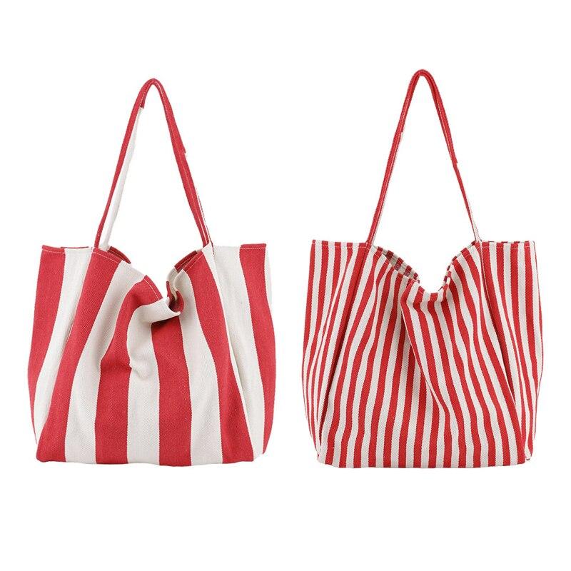 Toile sac fourre-tout tissu coton tissu réutilisable sac à provisions bleu femmes plage sacs à main rouge rayure imprimé sac d'épicerie