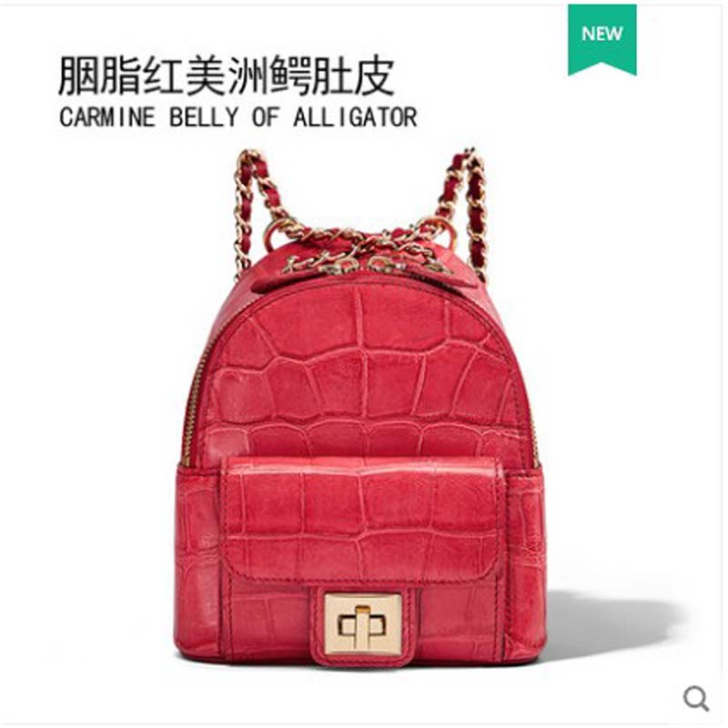 Gete Crocodile  Alligator Belly Trend 2019 Backpacks For Women With High-volume Fashion Women Bags Lady