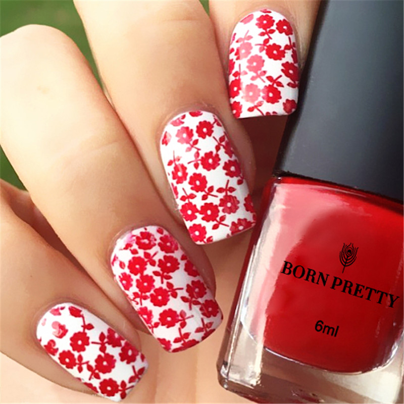 ₩Born pretty rojo Manicura estampado polaco barniz 6 ml nail plate ...