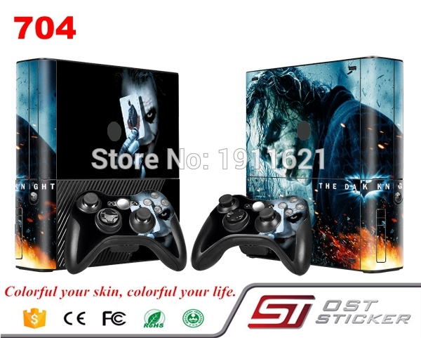 OSTSTICKER Game Decal Full Set Skin Stickers For Xbox 360 E Console+ 2 Controllers Skin Cover For xbox E vinyls sticker