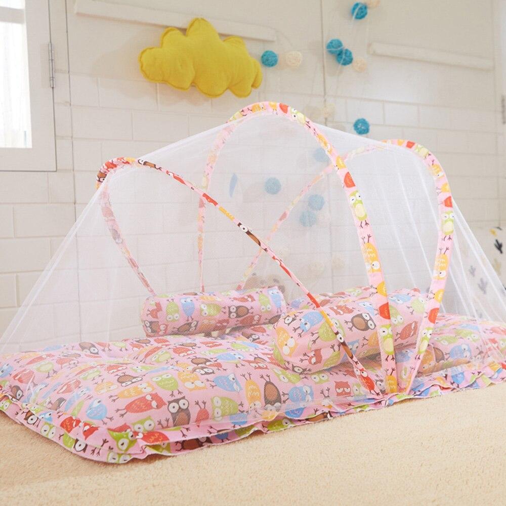 все цены на 2018 New Arrivel Baby Bed Mosquito Insect Net Folding Mesh Cradle With Sleeping Pillow Cartoon Fashionable Crib Netting 3 Colors онлайн
