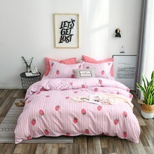 5a027c7346 3-4pcs/lot AB Sides Sweet Strawberry Duvet Cover Sets 100% Polyester Bedding