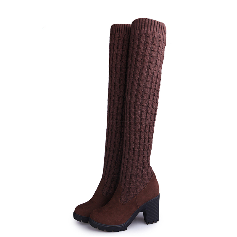 2017 Flock Round Toe Spring Over The Knee Boots Square High Heel Women Sexy Ladies Fashion Boots enmayer green vintage knight boots for women new big size round toe flock knee high boots square heel fashion winter motorcycle