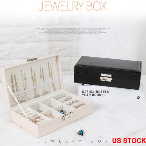 US Portable Travel Jewelry Box Organizer Leather Jewellery Ornament Case Storage