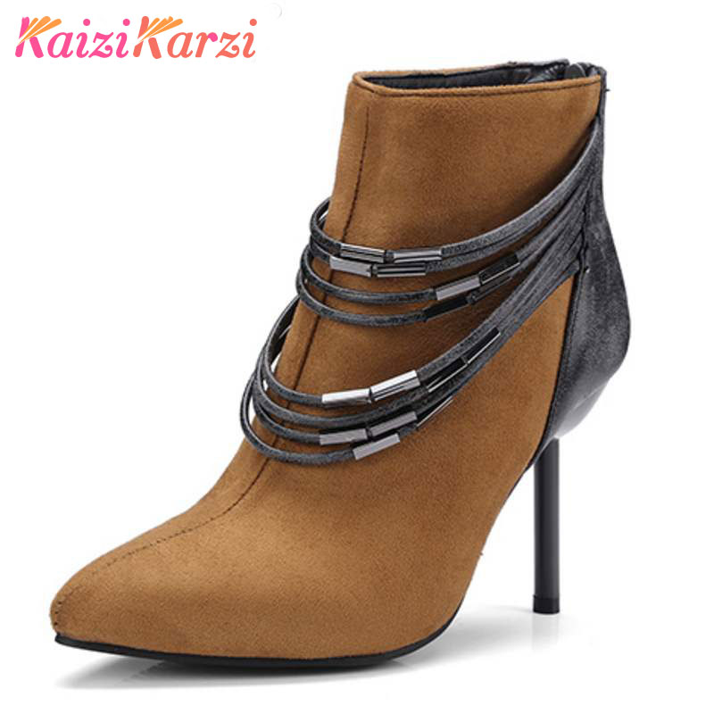 ed94e3db6bc2 Aliexpress.com   Buy KaiziKarzi Plush Size 32 48 Winter Shoes Women High  Heel Ankle Boots Women Pointed Toe Zip Boots Female Warm Short Plush Botas  from ...