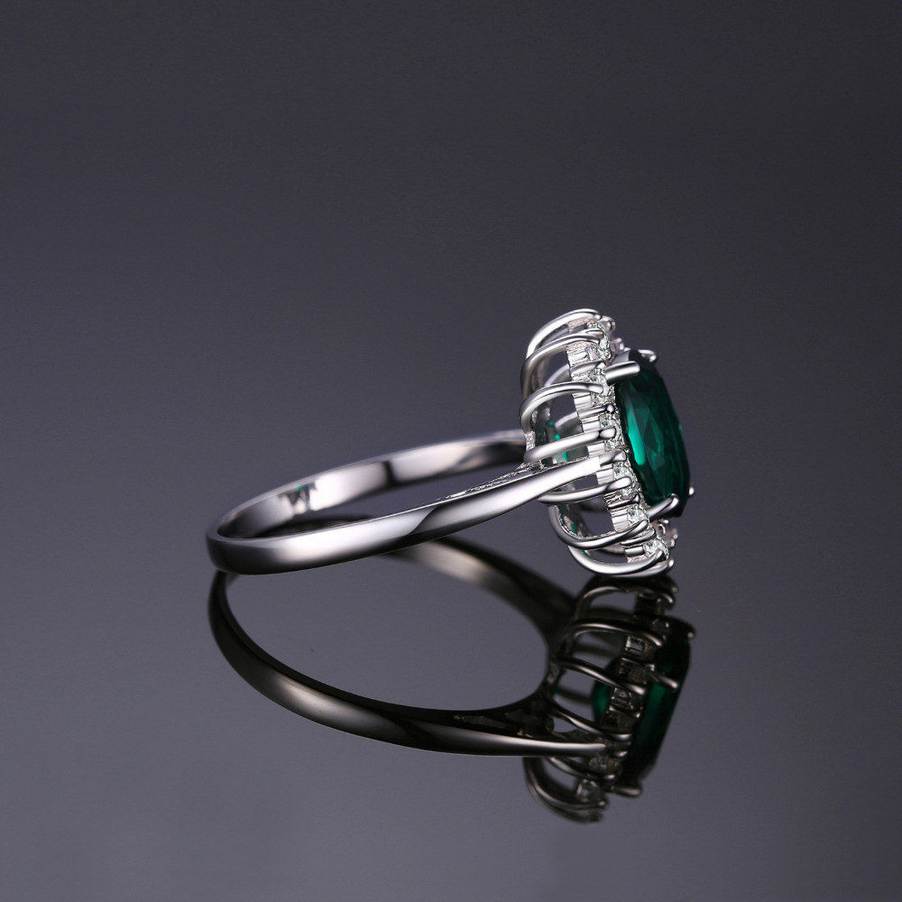Image 4 - JewPalace Princess Diana Simulated Emerald Ring 925 Sterling Silver Rings for Women Engagement Ring Silver 925 Gemstones Jewelry-in Rings from Jewelry & Accessories