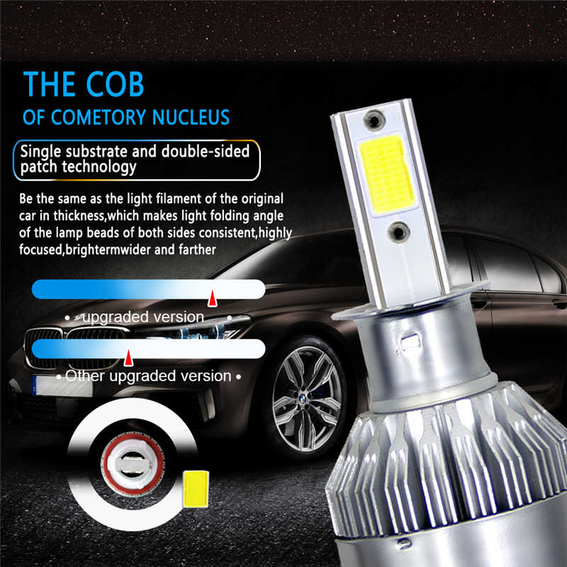 2PCS Car accessories LED Bulbs Headlights Motocross H1 880 9004 9005 9006 9007 H3 H4 H7 H11 For bmw e46 ford focus 2 audi a3