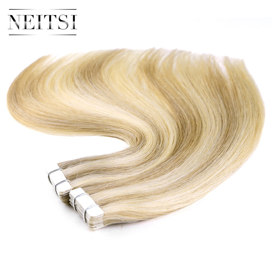 Neitsi Straight Skin Weft Adhesive Hair Geen Remy Tape In Human Hair - Mensenhaar (voor wit) - Foto 5