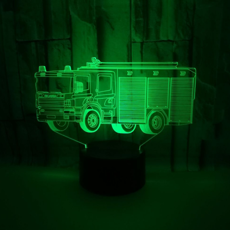 Colorful Touch Led Night Light 3d Illusion USB Atmosphere Table Lamp for Children Baby Kids Gift Bedside Bedroom Fire Truck